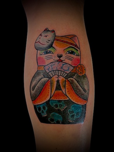 Calypso-Tattoo - Gallery - Lucky Cat Tattoo, back of the leg